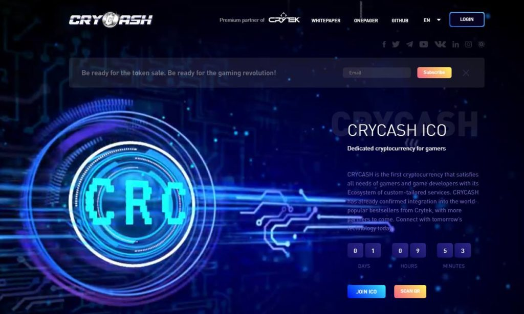 crycash token sale with cryptek on ethereum